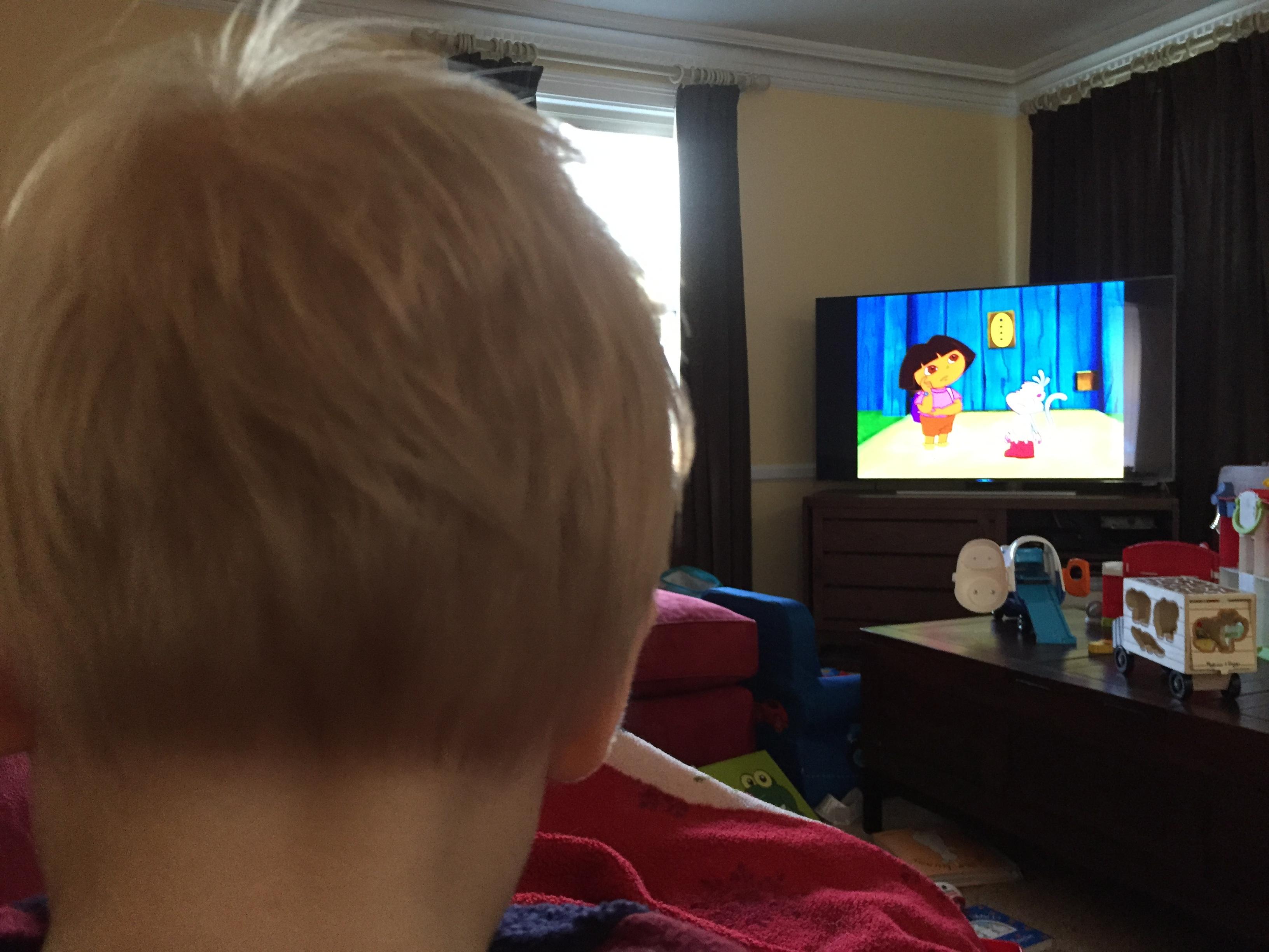 Freddie watching Dora