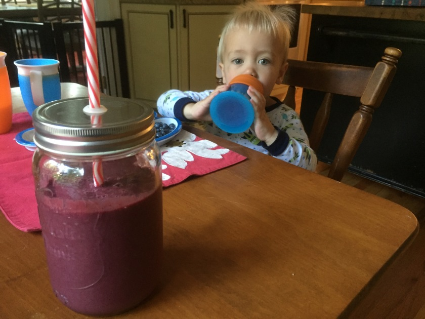 Freddie drinking his Root Chakra Smoothie